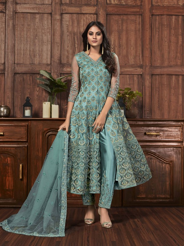 Butterfly Net Fabric Party Wear Suit In Turquoise Color With Embroidery