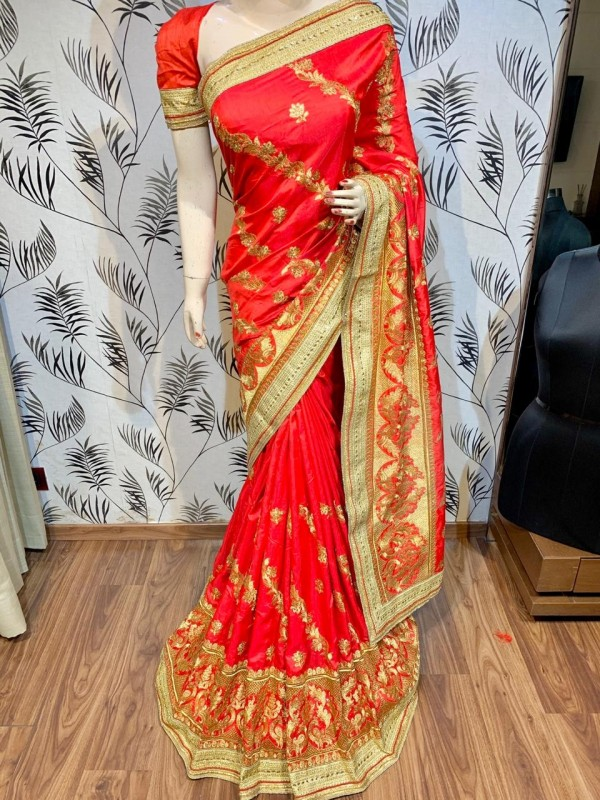 Nylon Silk Party Wear Saree In Red With Embroidery & Crystal Stone Work