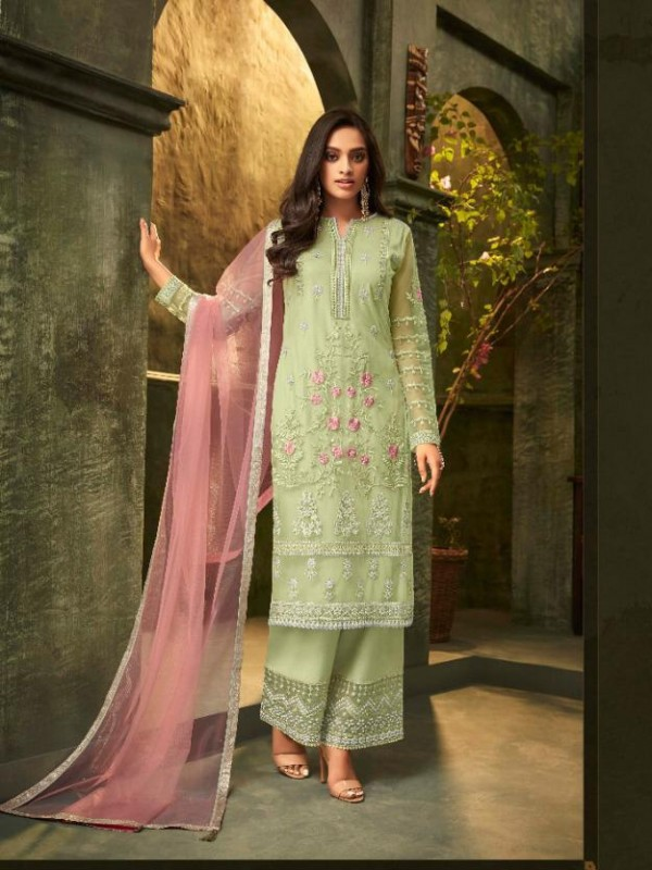 Mono Net  Party Wear Suit In Green Color With Embroidery