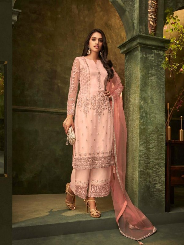 Mono Net  Party Wear Suit In Pink Color With Embroidery