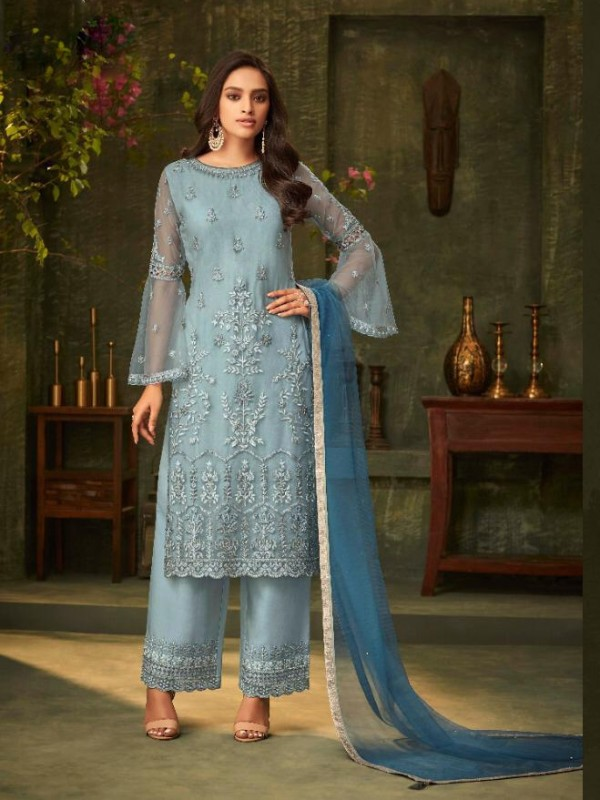 Mono Net  Party Wear Suit In Grey Color With Embroidery